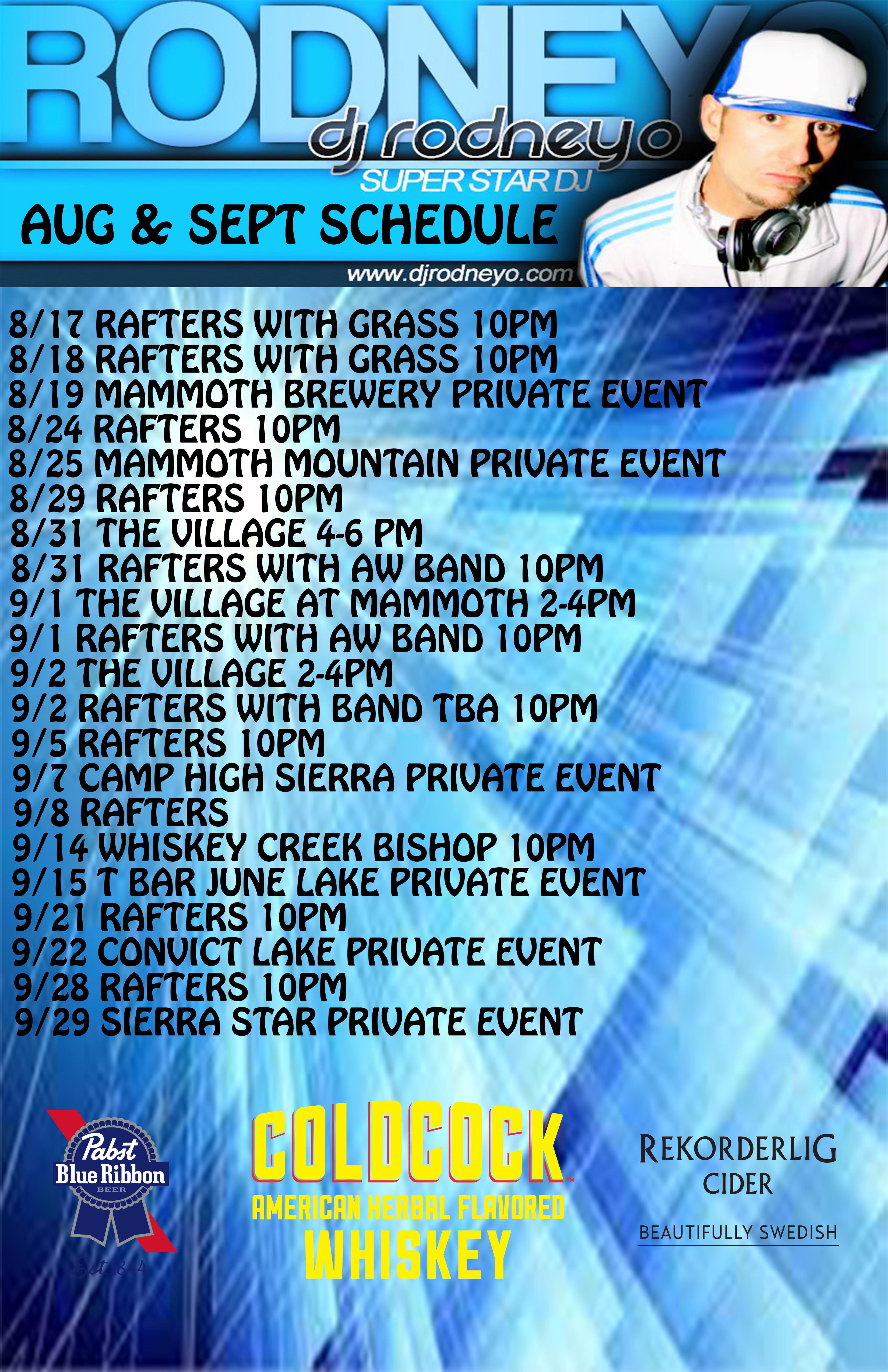 Rodneyo aug -Sept schedule