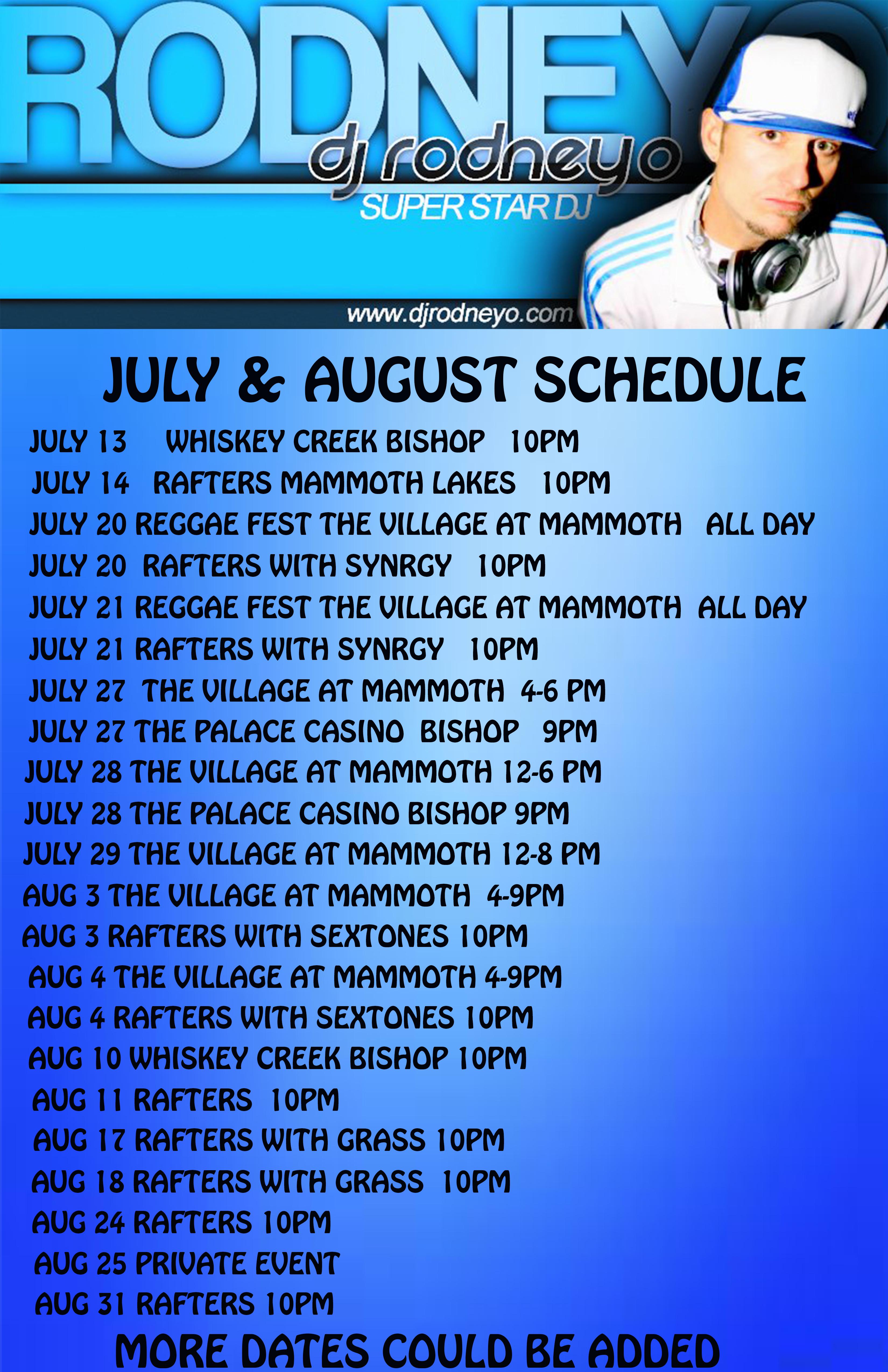 dj Rodneyo Summer 2018 Schedule